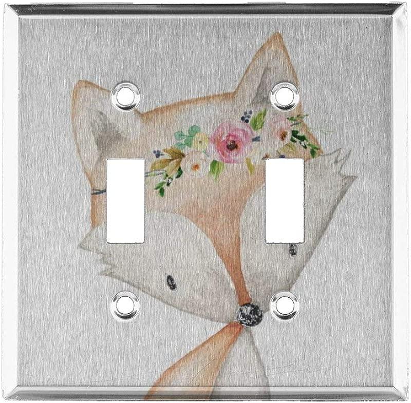 Xiladoso Boho Fox Woodland Baby Girl Nursery FloralDouble Hole American Switch Panel Double Switch Panel