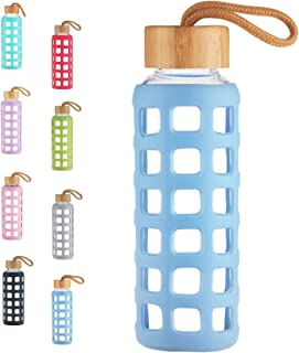 Cleesmil BPA Free Glass Water Bottle with Anti-Slip Silicone Sleeve with Bamboo Lid Leak Proof 12 oz / 22 oz / 32 oz