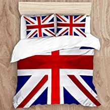 VSNKSU Microfiber Duvet Cover Set,Union Jack Flag UK,3 Piece Bedding Set with 2 Pillow Shams,King