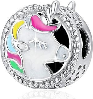 Unicorn Charm for Pandora Charms Bracelet, Round Shape Genuine 925 Sterling Silver Colorful Enamel Bead for Pandora European Bracelets BJ09002