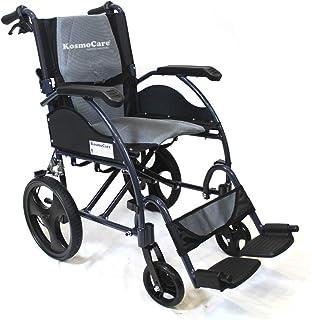 KosmoCare Stylex Premium Imported Ultra lightweight Transporter Wheelchair With Seat Belt - Crest Series-Grey
