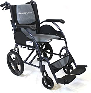 KosmoCare Stylex Premium Imported Ultra lightweight Transporter Wheelchair With Seat Belt - Crest Series-Grey
