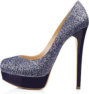Women's Round Toe Super High Heel Platform Stiletto Slip On Pumps for Wedding Party Shoes Graffiti