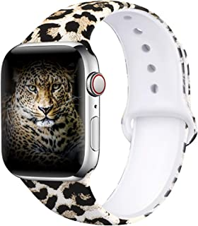 EXCHAR Compatible with Apple Watch Band 40mm 38mm 44mm 42mm Fadeless Pattern Printed Floral Bands Silicone Replacement Band for iWatch Series 5 Series 4/3/2/1 for Women Men