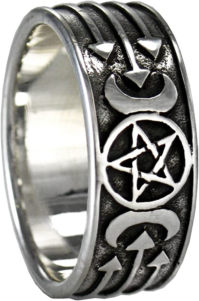 discount Sterling Silver Triple Super beauty product restock quality top Moon Lunar Pentacle Goddess Wiccan Pagan