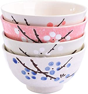 Asian Rice Bowls Set of 4 - Japanese Style Hand-painted Floral Plum Ceramic Bowls set of 4 Color For Dessert Snack Cereal Soup