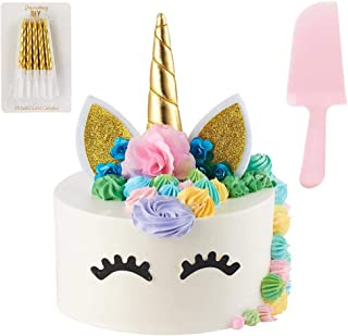 Unicorn Cake Topper | Handmade | Includes 10 Gold Swirl Candles & Cake Cutter | Includes Eye Lashes | Unicorn Party Supplies | Unicorn Cake Decorations For Girls, Birthday Party, Baby Shower & Wedding