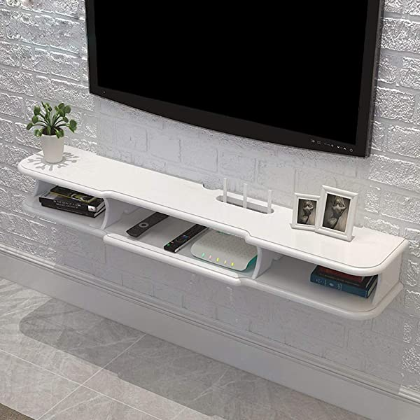 Floating Shelf Modern Wall Mounted Floating TV Shelf TV Console Home Media Entertainment Storage Shelf TV Stand TV Cabinet Sky Box Set Top Box Game Console Color White Size 120 24 14 6cm