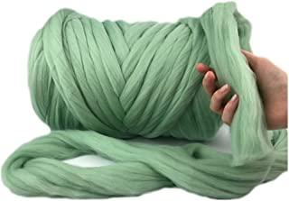 Giant Wool Yarn Chunky Arm Knitting Super Soft Wool Yarn Bulky Wool Roving (2 kg/4.4 lbs, Fern Green)