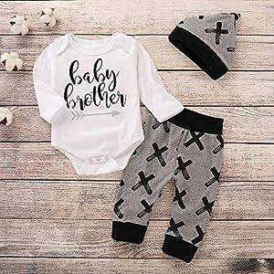 Baby Brother Kleidung weiß grau Set aus 3 Stück ab 3 bis 6 Monat, Größe 70 Baby Boy Kleidung neugeborene kleidung baby