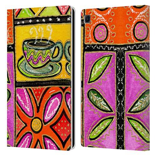 Head Case Designs Licenciado Oficialmente Wyanne Café Feliz y Flores Naturaleza Carcasa de Cuero Tipo Libro Compatible con Samsung Galaxy Tab S6 Lite
