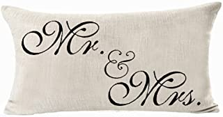 Sweetheart Mr and Mrs Black Valentine's Day Courtship Gift Cotton Linen Waist Lumbar Pillow Case Cushion Cover Personalize...