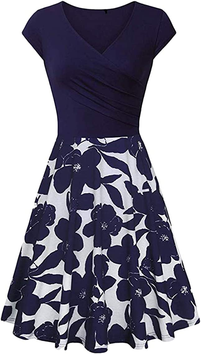 YMING Womens 1950s Vintage Floral Print Dress A Line Flared Swing Dress Cocktail Party Pleated Dresses