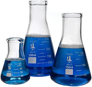 مجموعه فلاسک شیشه ای ارلنمایر - 3 اندازه - 50 ، 150 و 250 میلی لیتر ، Karter Science 214U2