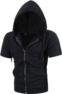 MIEDEON Mens Slim Fit Sleeveless Lightweight Zip-up Hoodie with Kanga Pocket