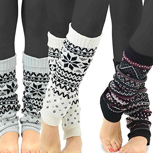 TeeHee Gift Box Women's Fashion Leg Warmers 3-Pack Assorted Colors (Geometric Pattern)