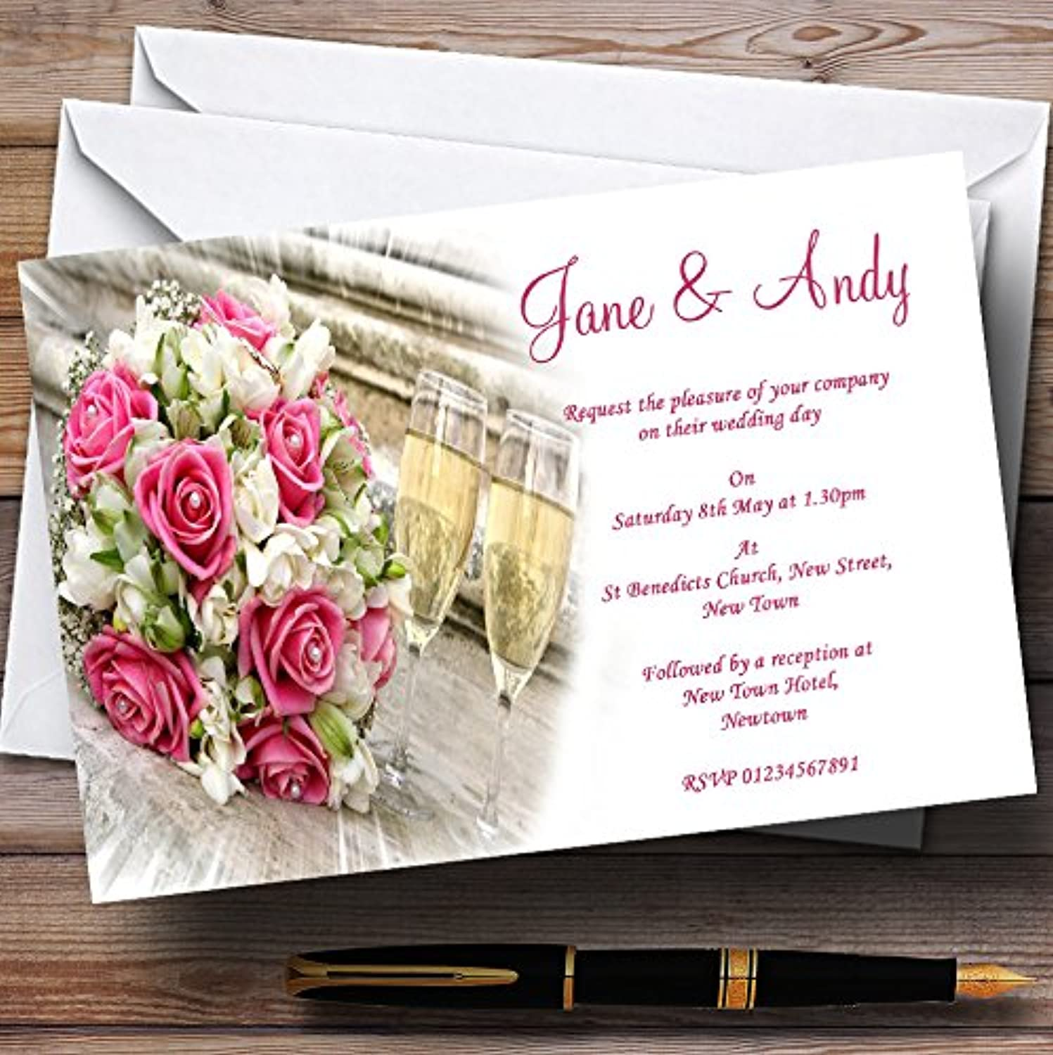 Pink pinks Pearls Champagne Personalised Evening Reception Invitations   Invites & Envelopes