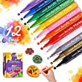 Acrylstifte für Steine, 12 Farben Acrylstifte Marker