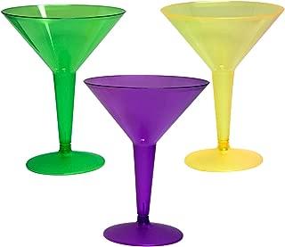Party Essentials Hard Plastic 8-Ounce 2-Piece Martini Glasses, Mardi Gras Mix, 12-Count