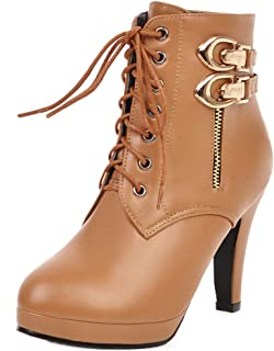 FANIMILA Women Fashion Platform High Heel Booties Zip
