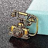 YXFYXF Brosche Mode Telefon Festnetz Telefon Form Brosche Männer Kleidung Schmuck Hijab Zubehör Frauen Punk Retro Schal Pin (Color : Antique Gold)