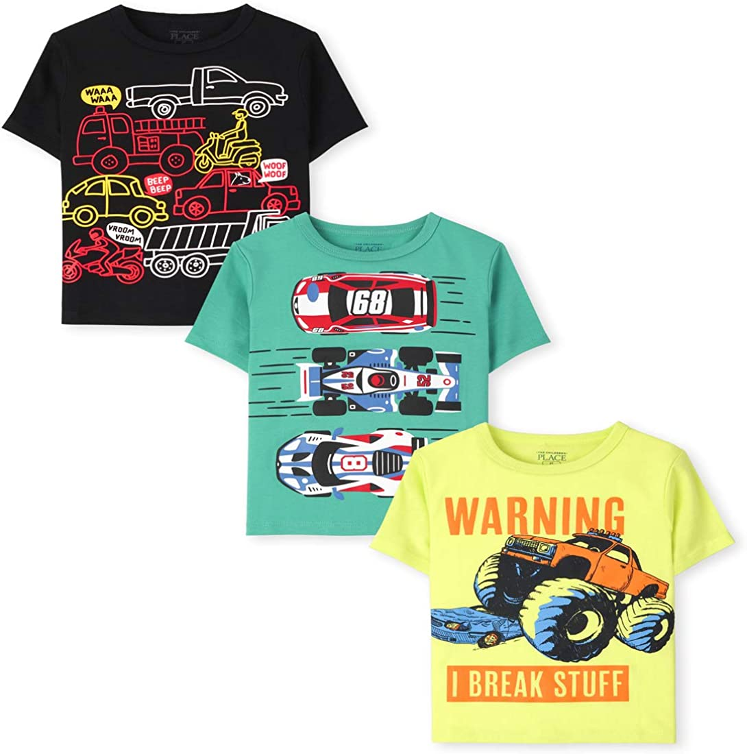 The Children's Place Baby Toddler Boy Short Sleeve Graphic T-Shirt 3-Pack