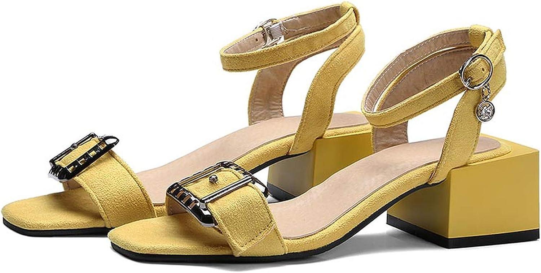 Merry-Heart Sexy Bead Buckle Ankle Strap Square Block Heel Women Sandals Open Toe,