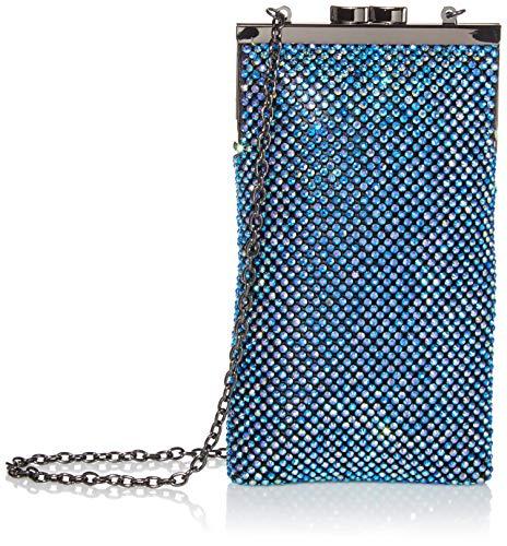 Jessica McClintock Damen Annabelle N/S Diamondette Crossbody Clutch, Irisierendes Blau, Einheitsgröße