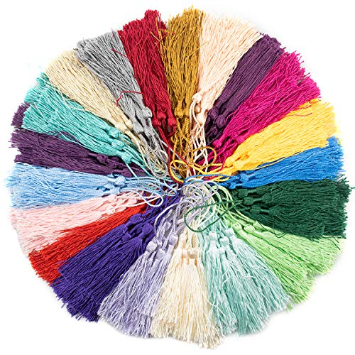 Foraineam 300 Pieces 20 Colors 5 Inch / 13cm Silky Handmade Soft Tassels Floss Bookmark Tassels with Loop for Jewelry Making, DIY Craft Projects, Bookmarks