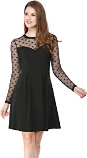 Women's Mesh See Through Heart Polka Dots Sheer Skater Party Dress