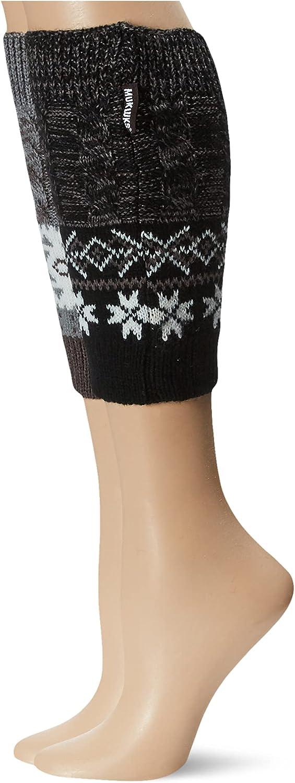 Muk Luks Women's 2 Pair Pack Reversible Snowflake Boot Toppers