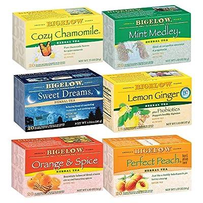 Bigelow Herbal Tea 6 Flavor Variety Pack, Caffeine Free Herbal Teas, 118 Tea Bags Total from Bigelow
