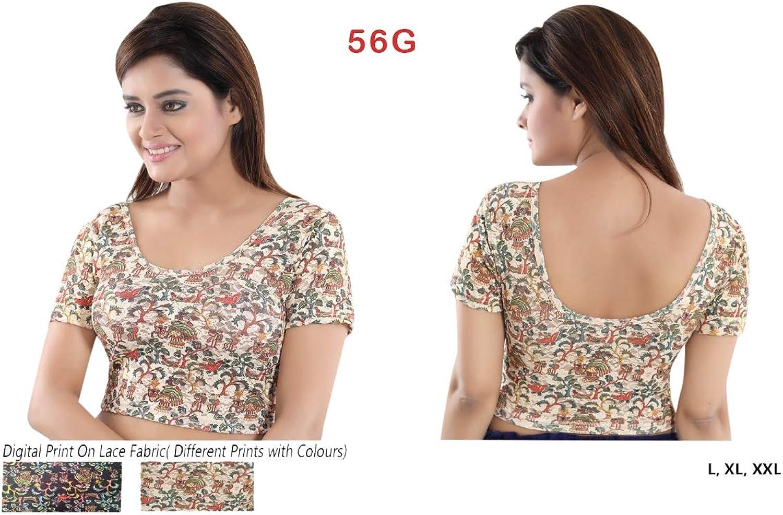Multicolor Printed Ready to wear Stretchable Lycra Readymade Saree Blouse Sari Choli Crop Top (L,XL,XXL) 56G