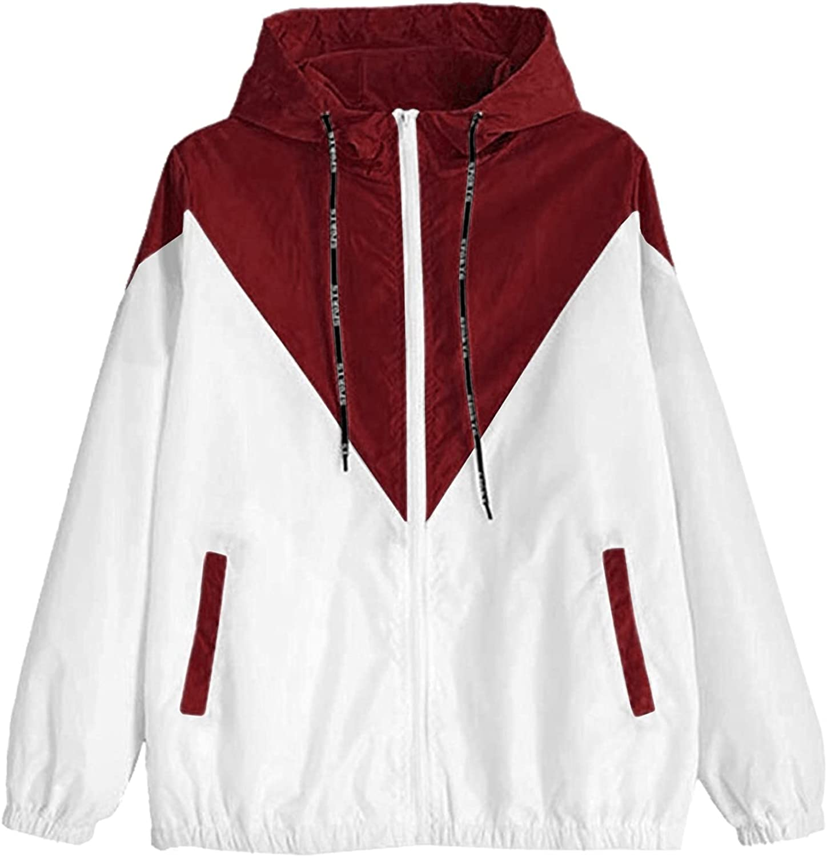 TLOOWY Women's Waterproof Rain Jacket Lightweight Hooded Windbreaker Packable Color Block Active Outdoor Sports Raincoat