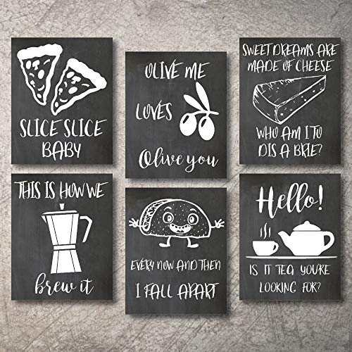 Wall Decor Kitchen Pictures UNFRAMED Modern Farmhouse Eat Signs Decorations Shabby Chic Art Sign Prints for Home or Office Kitchen Coffee Deco Wall Shelves or hanging shelf Vintage Decore Bar (Chalk, 8