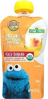 Earth's Best Organic Sesame Street Toddler Fruit Yogurt Smoothie, Peach Banana, 4.2 Oz (Pack of 12)