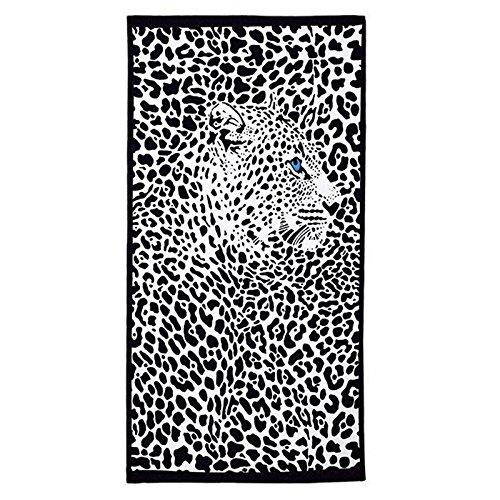 elegantstunning Womens' Beach Travel Kerchief Picnic/Strand Mat Mode Sjaal Bad Handdoek Mode Patroon Zachte Zwarte Panter Patroon_70*150cm