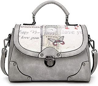 Fashion New Retro Casual Fashion Bills Shoulder Slung Female Bag Bucket Bag PU Female Bag (Color : Gray)