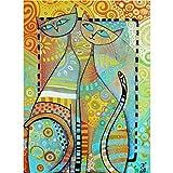 Kit de pintura de diamantes 5D para bricolaje, punto de cruz diamante kit completo abstracta de gatos, bordado de punto de cruz, suministros de manualidades para sala de estar 30 x 40 cm