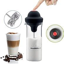 Espumador de leche Espumador eléctrico de café Funcionamiento con pilas Latte Cappuccino Fabricante de espuma Mezclador de batido de leche Batidor Varita de jarra Envase de gran capacidad vidrio