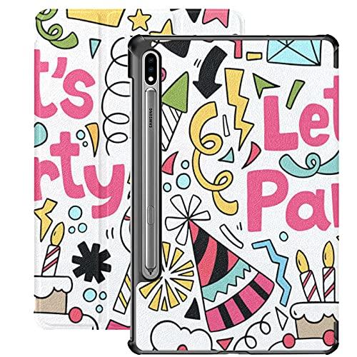 Funda para Galaxy Tab S7 Funda Delgada y Liviana con Soporte Funda para Samsung Funda para Galaxy Tab S7 Tablet 11 Pulgadas Sm-t870 Sm-t875 Sm-t878 2020 Release, 07 09 035 Hand Drawn Party Doodle HAP