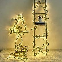 BHJTR Led Light Decoration Wall LED Light Grass Shape Christmas Simulation Green Leaf LED Lights USB/Battery (Battery, 5M50LED)