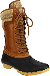 Hunter-07 Women Waterproof Warm Hiking Snow Rain Winter Mid Calf Lace Up Duck Booties Boot