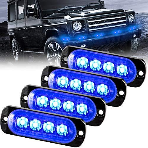 Sidaqi Advertencia de emergencia Luz de advertencia de peligro Luz estroboscópica 4 LED Azul para vehículo Camión Remolque de flash 12-24V (4 piezas)