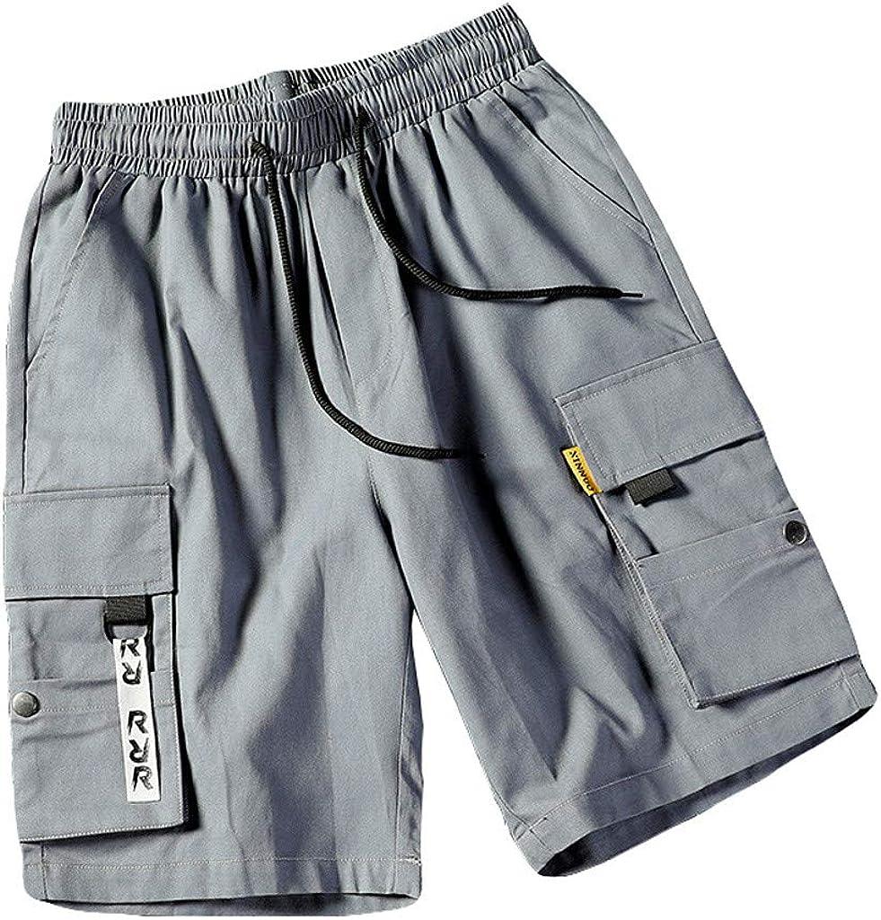 MODOQO Men's Cargo Shorts, Multiple Pockets Mid-Rise Patchwork Overalls Shorts