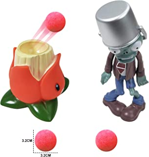 Action Figures for 3 Year Up Kids Pop Mobile Game Characters Plants vs Zombies Shooting Game Toy Set with A.K.E.E.and Buck...