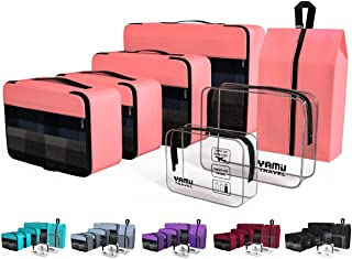 YAMIU Packing Cubes 7-Pcs Travel Organizer Accessories with Shoe Bag & 2 Toiletry Bags(Pink)