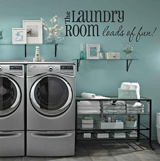 Amazon Com Laundry Room Wall Decals Loads Of Fun 40 W X 14 H Choose From Over 21 Color Choices Laundry Room Wall Decor U34 Plus Free 12 White Hello Door Decal