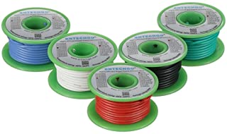 BNTECHGO 18 Gauge Silicone Wire Kit Red Black White Blue and Green Each 25ft 18 AWG Stranded Wire