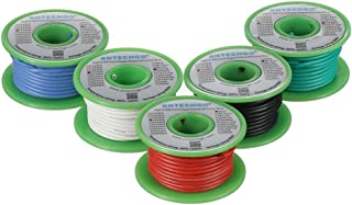 BNTECHGO Ultra Flexible 18 Gauge Silicone Wire Spool 5 Color Red Black White Blue Green High Resistant 200 deg C 600V Electronic Wire 18 AWG Stranded Wire 150 Strands Tinned Copper Wire Hook Up